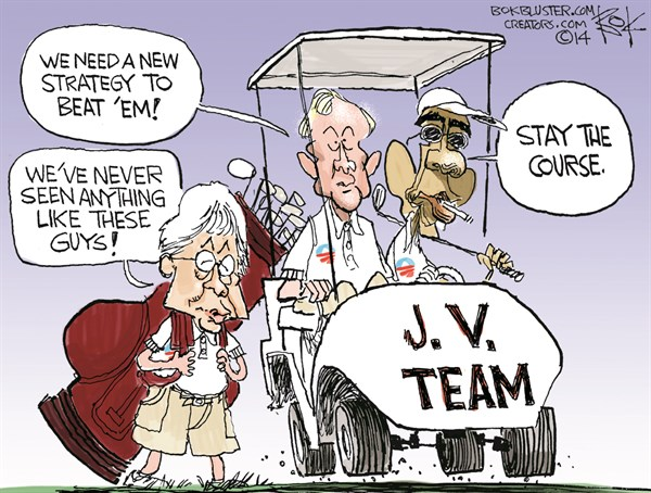 Stay the Course © Chip Bok,The Akron (Ohio) Beacon Journal,strategy,obama,team,obama-golfs
