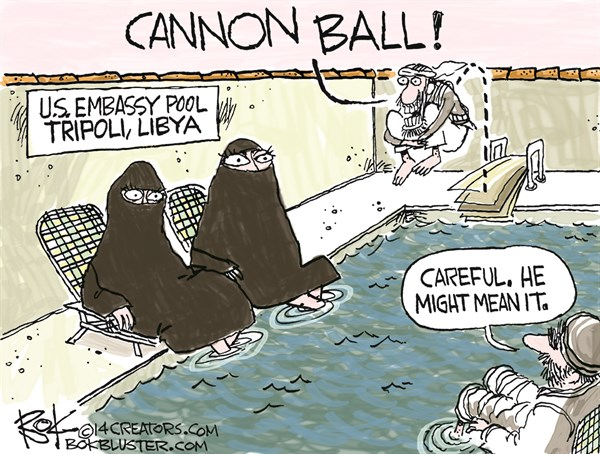 Cannon Ball © Chip Bok,The Akron (Ohio) Beacon Journal,embassy,tripoli,libya,terrorism