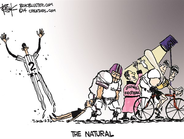 The Natural © Chip Bok,The Akron (Ohio) Beacon Journal,natural,players,sports,violence,nfl,abuse,nfl-child-abuse,nfl-domestic-violence