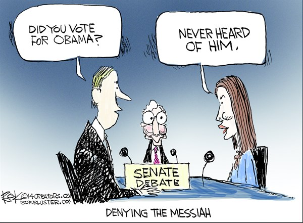 Denying the Messiah © Chip Bok,The Akron (Ohio) Beacon Journal,obama,vote,messiah