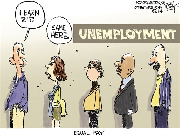 Equal Pay © Chip Bok,The Akron (Ohio) Beacon Journal,women,equal pay,pay,unemployment,economy,men,women