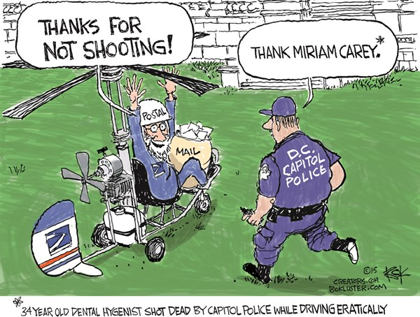 Thanks For Not Shooting © Chip Bok,The Akron (Ohio) Beacon Journal,dead,shot,shooting,postal,mail,dental hygienist,police