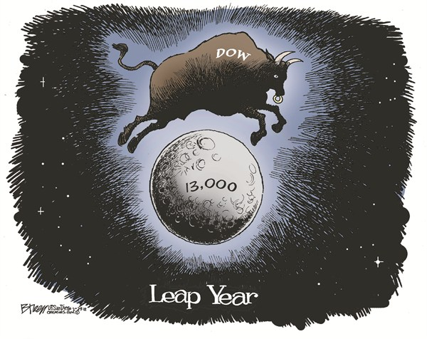 Leap Year © Steve Breen,The San Diego Union Tribune,dow,jump,moon,leap,year