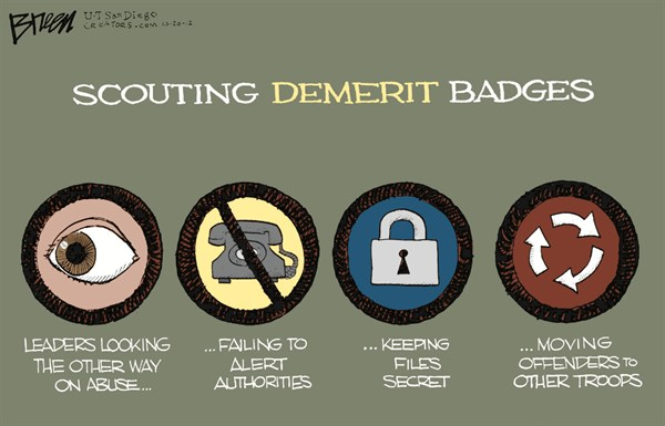 Scouting Demerit Badges © Steve Breen,The San Diego Union Tribune,boy,scouts,gay,eagle,troop,merit badge,camping,sex,abuse