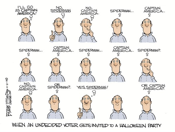 Undecided Voter Halloween © Steve Breen,The San Diego Union Tribune,costume,decide,undecided,voter,vote,political-halloween,undecided-voters