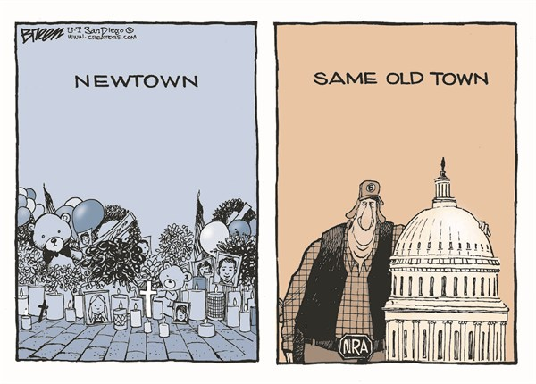 Same Old Town © Steve Breen,The San Diego Union Tribune,shooting,newtown,capital,washington,violence,gun debate 2012, guns, nra, NRA 2012