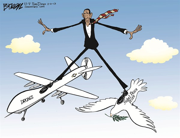 Obamas Drones © Steve Breen,The San Diego Union Tribune,obama,drones,peace,prize,obama-drones