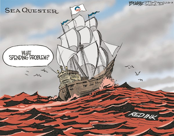 Sea Quester © Steve Breen,The San Diego Union Tribune,sequestration,spending,red ink,problem