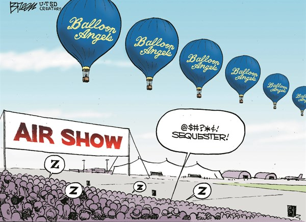 Air Show © Steve Breen,The San Diego Union Tribune,sequester,sequestration,balloon,angels,sleep,crowd