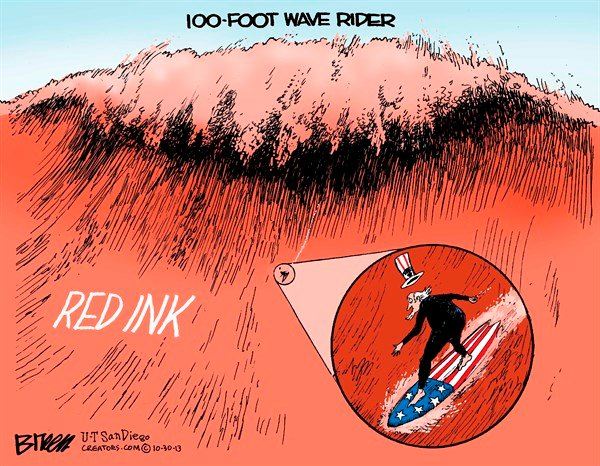 Red Ink © Steve Breen,The San Diego Union Tribune,red ink,government,usa,wave