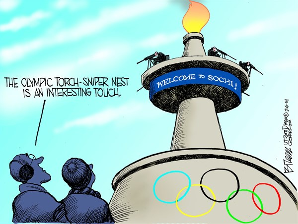 Olympic Torch Sniper Nest © Steve Breen,The San Diego Union Tribune,olympics,sniper,torch,russia,terror,russia-olympics-security