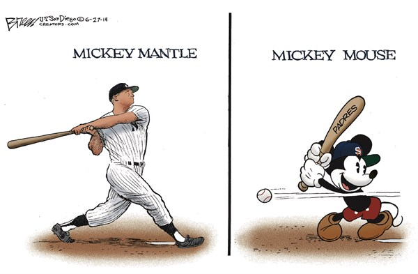 The Mickeys © Steve Breen,The San Diego Union Tribune,mickey mantle,mickey mouse,padres