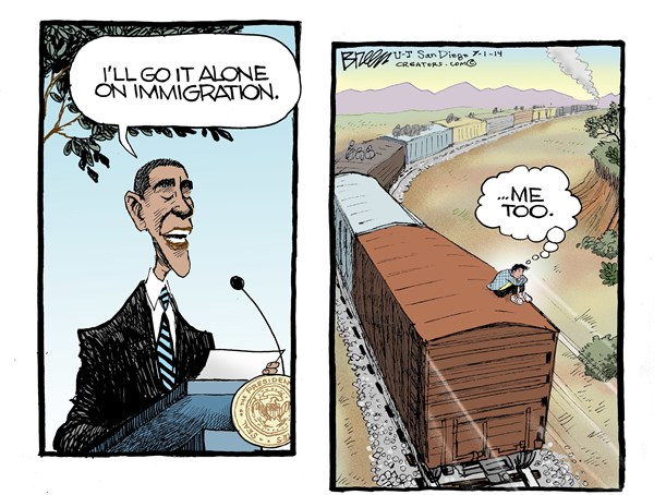 Alone on Immigration © Steve Breen,The San Diego Union Tribune,obama,immigration,kids,alone,immigration-and-kids