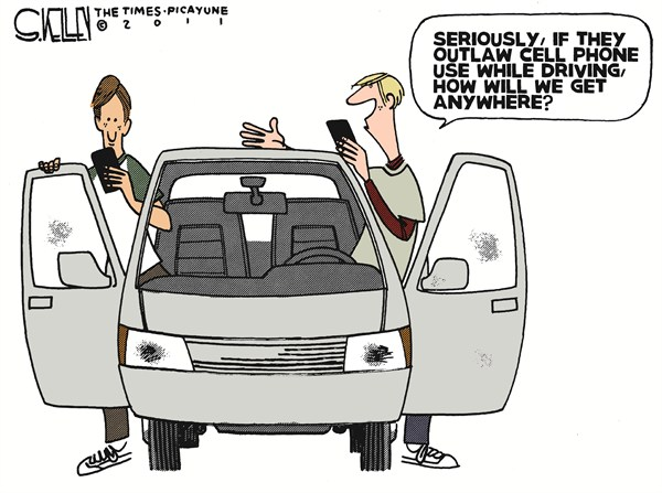 Cell Phone Ban © Steve kelley,The New Orleans Times, Picayune,driving,cell phone,ban,texting,kids