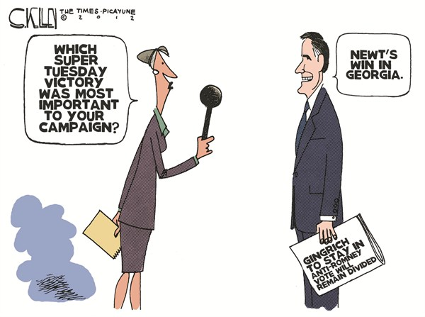 Super Tuesday Highlight © Steve kelley,The New Orleans Times, Picayune,super tuesday,romney,gingrich,election,campaign,votes,split,candidates