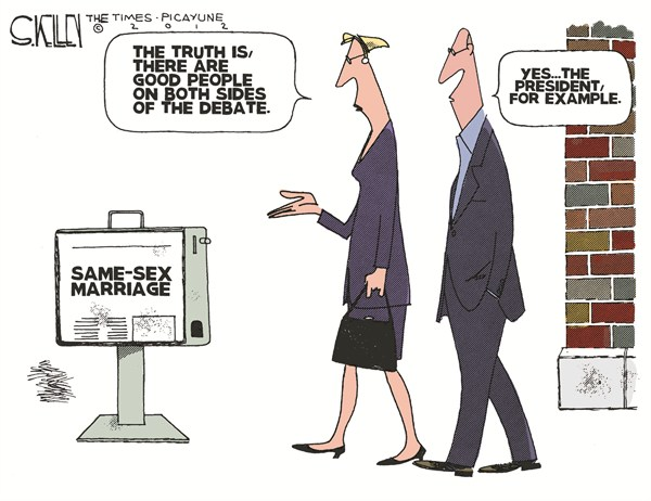 Same Sex Marriage © Steve kelley,The New Orleans Times, Picayune,obama,gay,marriage,people,good,debate,president