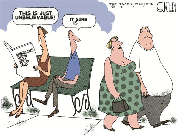 Food Waste © Steve kelley,The New Orleans Times, Picayune,obesity,fat,americans,food,waste