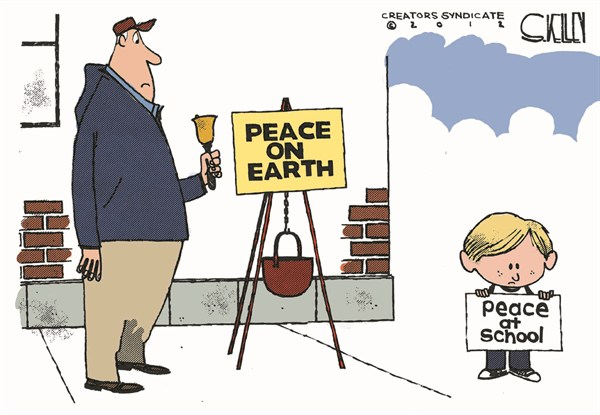 Peace at School © Steve kelley,The New Orleans Times, Picayune,peace on earth,kids,school,guns,shooting,violence,bell,ring,connecticut-shooting