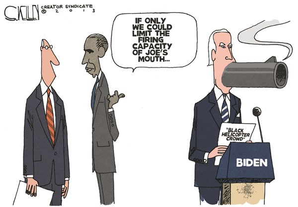 Joes Mouth © Steve kelley,The New Orleans Times, Picayune,joe biden,mouth,fire,capacity,black,helicopter,guns,crowd