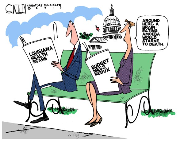 Brain Eating Amoeba © Steve kelley,The New Orleans Times, Picayune,amoeba,starve,death,budget,redux,louisiana,health,scare