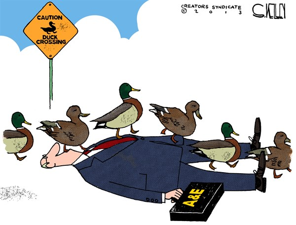 Duck Crossing © Steve kelley,The New Orleans Times, Picayune,,duck-dynasty
