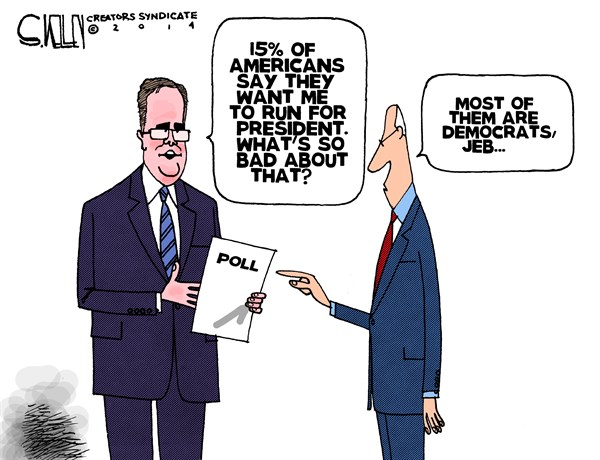Americans for President © Steve kelley,The New Orleans Times, Picayune,jeb bush,americans,polls