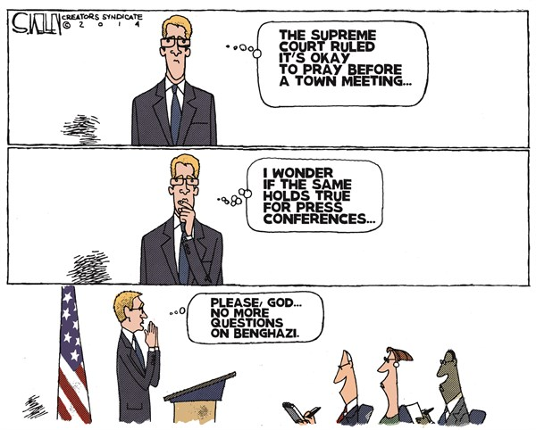 Prayer Before Meeting © Steve kelley,The New Orleans Times, Picayune,prayer,meeting,benghazi,questions,benghazi-mess