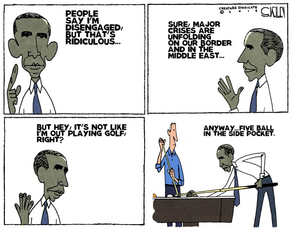 Obama Disengaged © Steve kelley,The New Orleans Times, Picayune,obama,golf,border,disengaged,immigration-mess