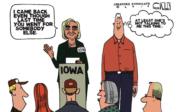 Hillarys Back © Steve kelley,The New Orleans Times, Picayune,hillary 2016,hillary clinton,iowa,president
