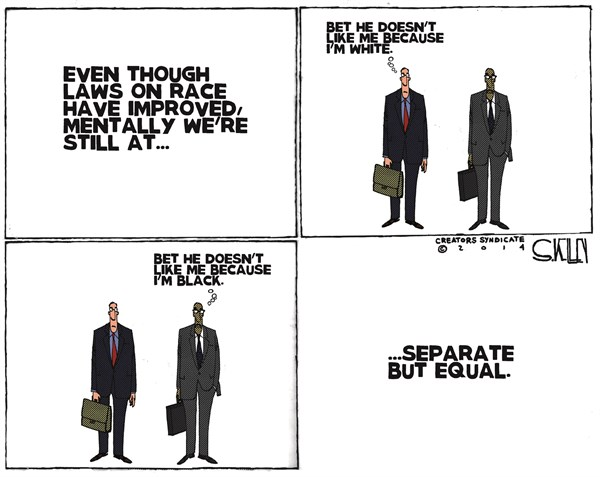 Separate But Equal © Steve kelley,The New Orleans Times, Picayune,laws,separate,race,black,white,race relations
