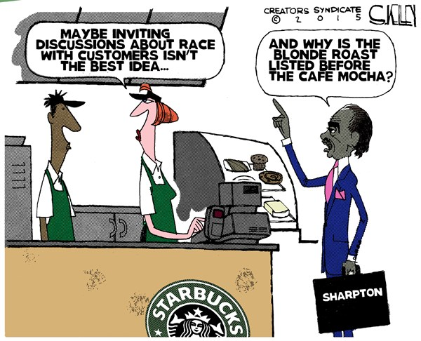 Sharpton and Starbucks © Steve kelley,The New Orleans Times, Picayune,starbucks,sharp ton,customers,race,discussion