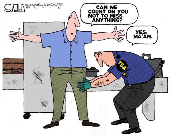 TSA Screening © Steve kelley,The New Orleans Times, Picayune,tsa,screening,airport,security,search,irony,scanner,terrorism,tsa-screening