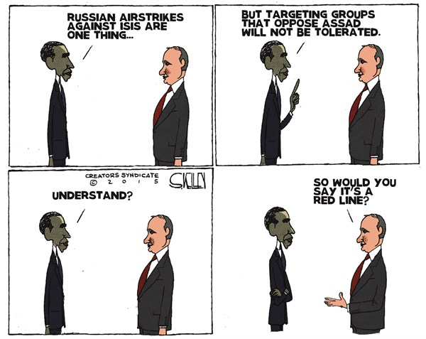 Red Line, Steve kelley,The New Orleans Times, Picayune,obama,putin,assad,isis,red line,obama-putin-meeting