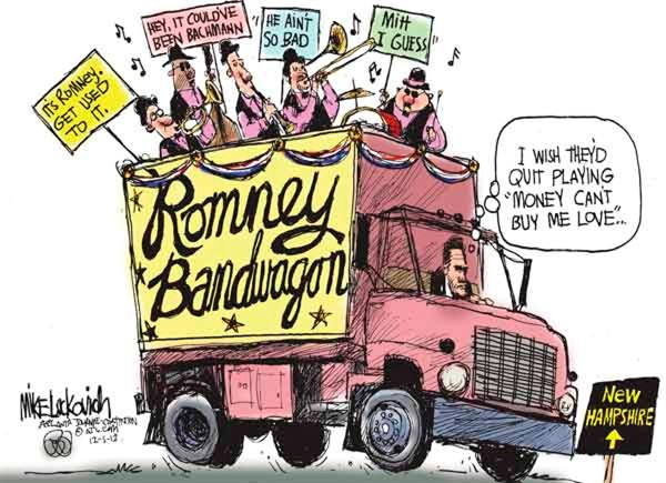 Romney Bandwagon © Mike Luckovich,The Atlanta Journal Constitution,
