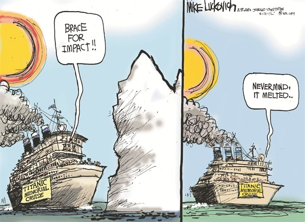 Titanic Memorial Cruise © Mike Luckovich,The Atlanta Journal Constitution,titanic,memorial,cruise,iceberg,crash,global warming
