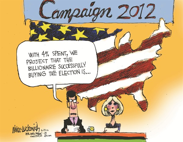 Campaign 2012 © Mike Luckovich,The Atlanta Journal Constitution,campaign,election,voters,billionaire,money,buy