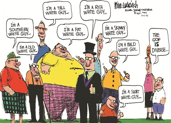 Diverse GOP © Mike Luckovich,The Atlanta Journal Constitution,diverse,gop,white,old,southern,bald,rich