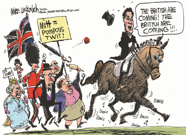 Pompous Twit © Mike Luckovich,The Atlanta Journal Constitution,romney,olympics,pompous,twit,london,queen,british,remarks,gaffe,,romney olympics