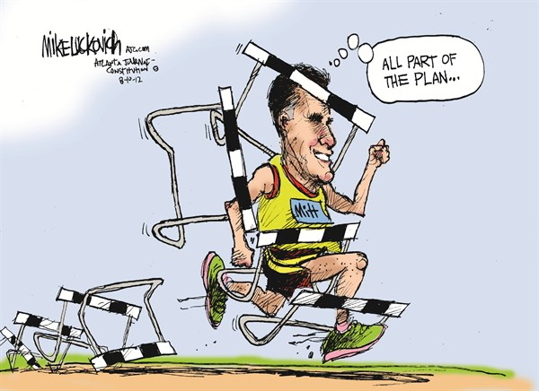 Mitts Hurdles © Mike Luckovich,The Atlanta Journal Constitution,political olympics,hurdles,romney,campaign,election,plan,olympics
