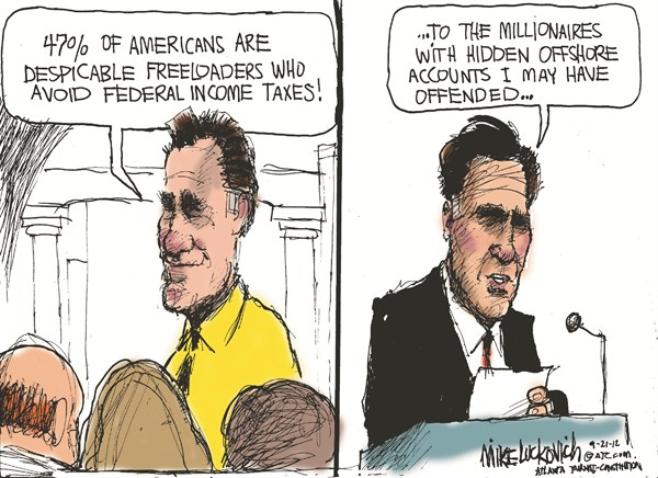 Despicable Freeloaders © Mike Luckovich,The Atlanta Journal Constitution,offshore,account,offended,freeloaders,taxes,47-percent,romney-gaffes