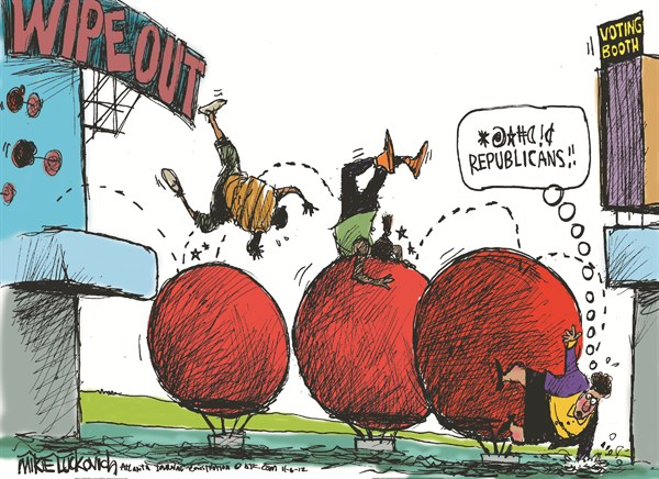 Wipeout © Mike Luckovich,The Atlanta Journal Constitution,wipeout,republicans,lose,election-over-2012,vote, voters, voters 2012