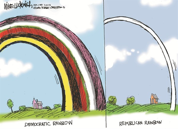 Rainbows © Mike Luckovich,The Atlanta Journal Constitution,democratic,republican,rainbow,election,four-more-years,election-over-2012