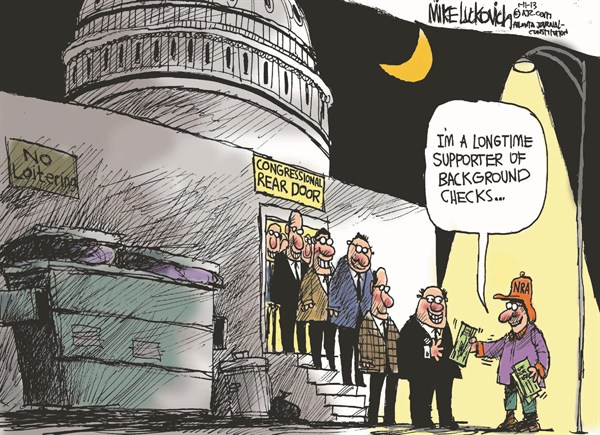 Background Checks © Mike Luckovich,The Atlanta Journal Constitution,new congress,background,checks,support,guns,weapons,Assault Weapons, gun debate 2012, nra, NRA 2012, second amendment
