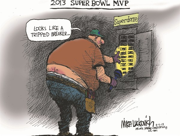 Super Bowl MVP © Mike Luckovich,The Atlanta Journal Constitution,blackout,mvp,super bowl,breaker,lights,electrician,football,power,outage,power-outage,super-bowl-2013