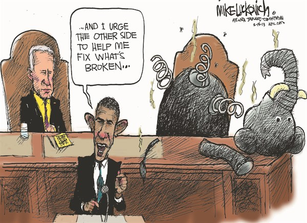 Fix Whats Broken © Mike Luckovich,The Atlanta Journal Constitution,obama,obama and republicans,state,union,broken,fix,state-of-the-union-2013