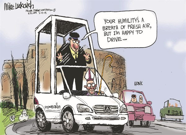Popemobile © Mike Luckovich,The Atlanta Journal Constitution,pope,catholic,church,leader,francis,argentina,popemobile,pope-francis