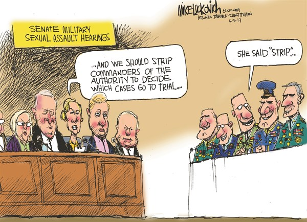Sexual Assault Hearings © Mike Luckovich,The Atlanta Journal Constitution,military,sexual,assault,soldiers,women,hearings,military-sexual-assaults