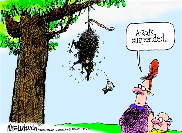 Arod Suspended © Mike Luckovich,The Atlanta Journal Constitution,arod,drugs,steroids,baseball,a-rod,player,juice,minor,league,dope,doping,suspended