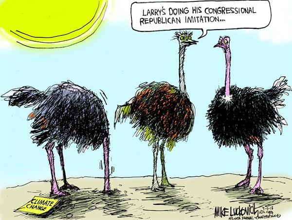 Republican Imitation © Mike Luckovich,The Atlanta Journal Constitution,congress,climate change,republican,imitation