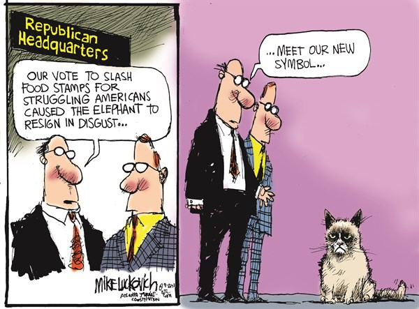 Republican Headquarters © Mike Luckovich,The Atlanta Journal Constitution,republican,food stamps,struggle,cat,symbol